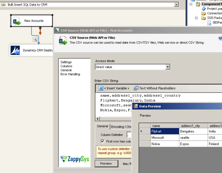 CSV Source - Sample Accounts for CRM Insert Demo
