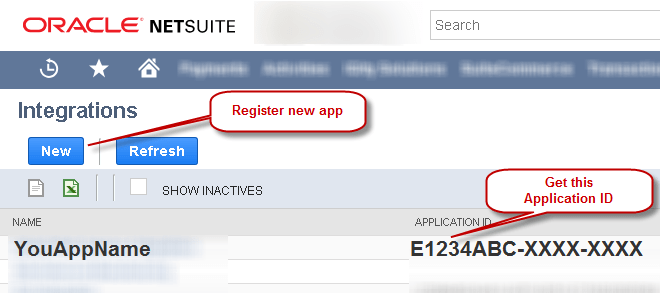 Create new App / Get NetSuite Application ID