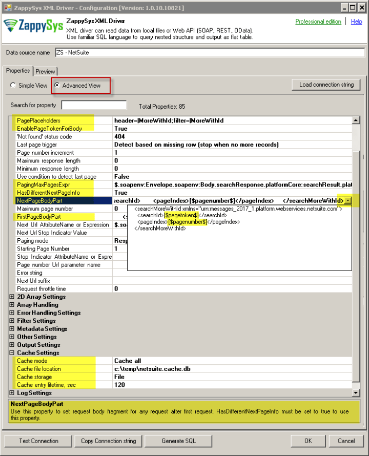 NetSuite Connection Settings - ODBC XML Driver Advanced View (Pagination, Caching, Logging and other properties not found in Simple Mode)