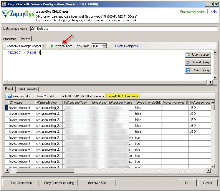 Preview NetSuite data using ODBC Driver
