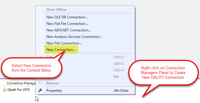 Connection Manager Panel: Select Connection