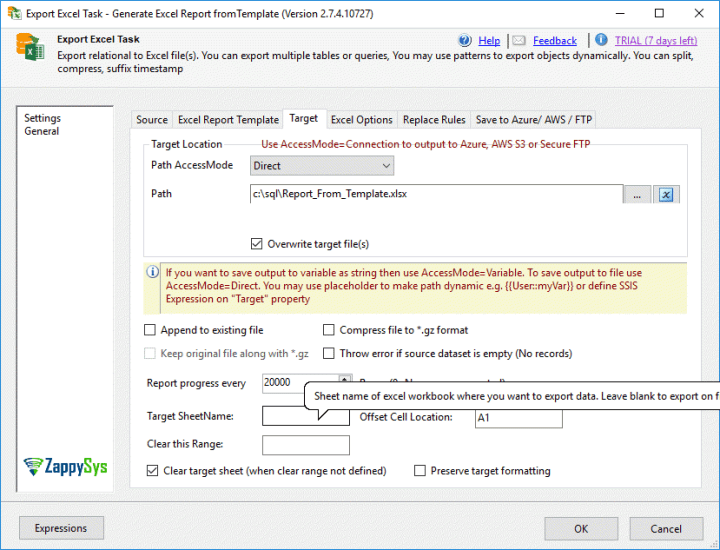 Excel output in SSIS based on a template