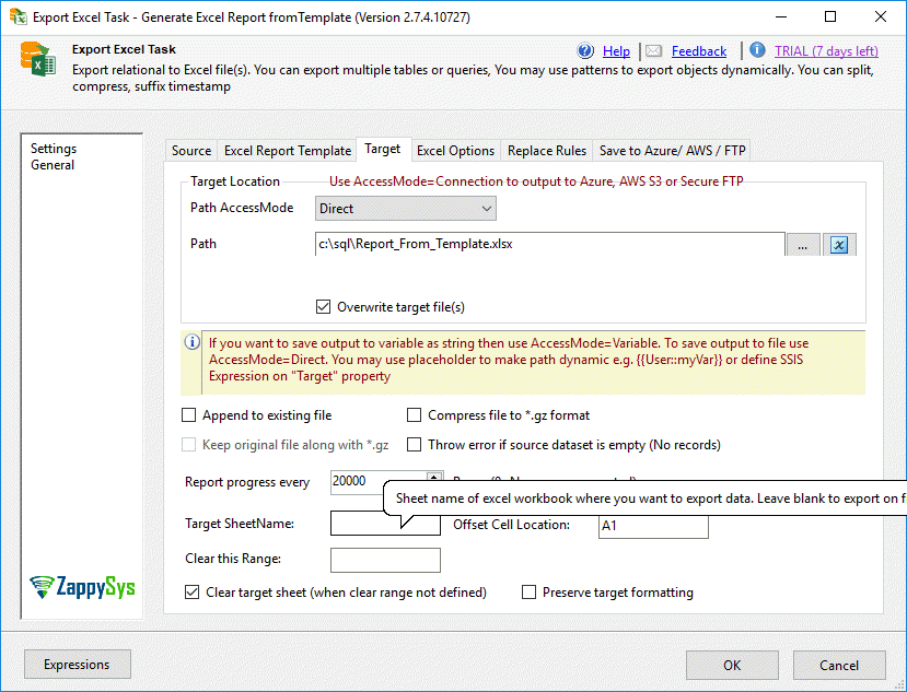 Create Excel Report in SSIS using a template (Export