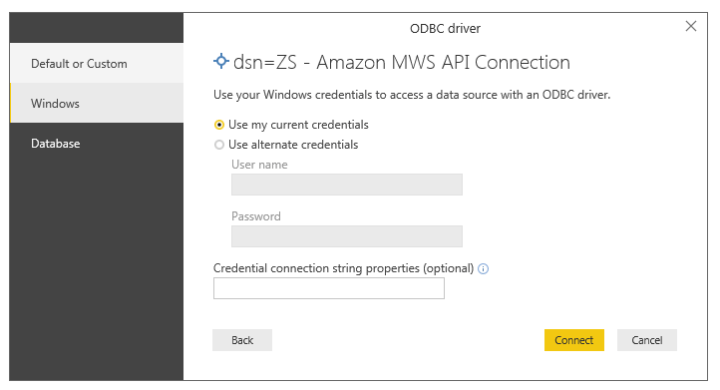 Select Authentication for Amazon MWS connection in Power BI data load