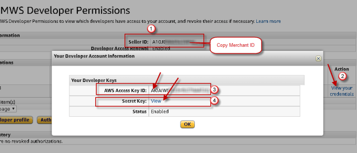 How to get Amazon MWS developer keys and know your Merchant ID (i.e. Seller ID)