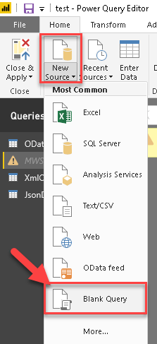 Power BI - Create New Data source from Query (M Script)