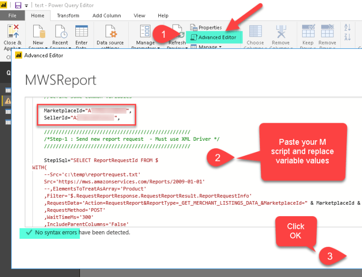 Edit Power BI Query Script - Use custom M Language Script to import data from ODBC or other Relational