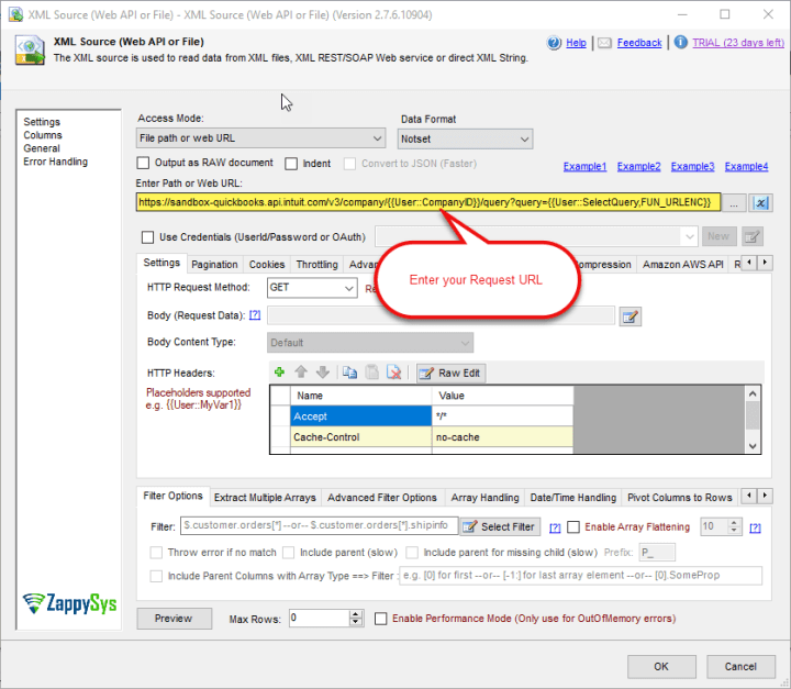 SSIS XML Source Component: Enter Request URL to read data from QuickBooks Online