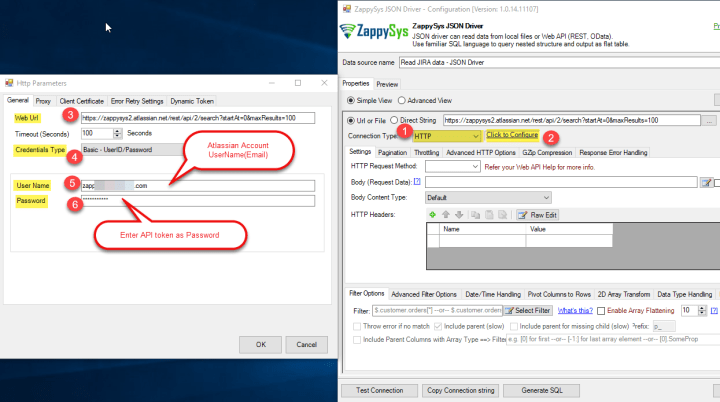 JIRA REST API Connection - Use ZappySys JSON Driver HTTP Connection