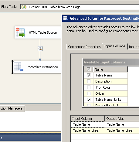 Select Input Columns for SSIS Recordset Destination