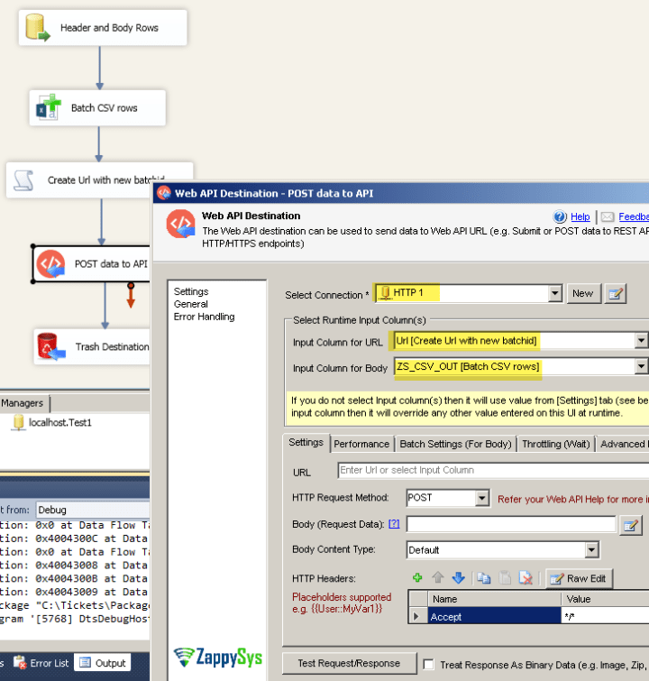 POST data to REST API in multiple batches using SSIS Web API destination