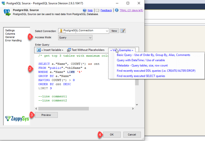 ssis-PostgreSQL-preview-query