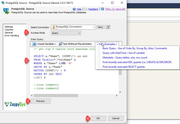 PostgreSQL Query Preview