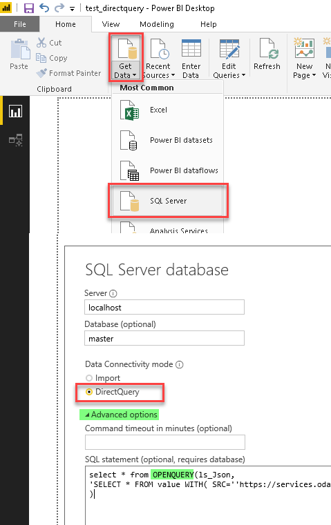 DirectQuery option for Power BI (Read REST API Data Example using SQL Server Linked Server and ZappySys Data Gateway)
