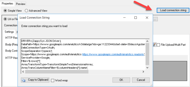 Load ZappySys Driver ConnectionString to configure UI