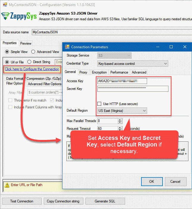 Configuring the authentication to Amazon S3 bucket in ZappySys Data Gateway