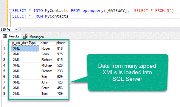 The data of many XMLs loaded from Azure Blob Container into SQL Server
