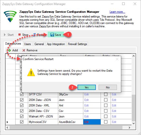 ZappySys Data Gateway Service - Save and Restart