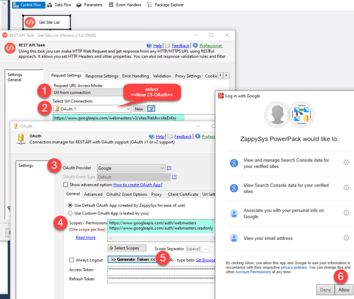 Call Google Search Console API using SSIS REST API Task (OAuth Authentication)