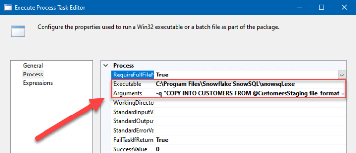 Copying data from a staging area to a Snowflake table using SSIS