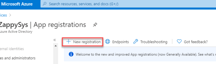 New App Registration in Azure portal