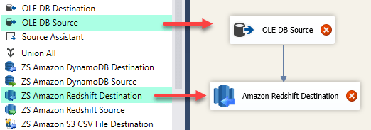 SSIS OLE DB Source and Amazon Redshift Destination - Drag and Drop