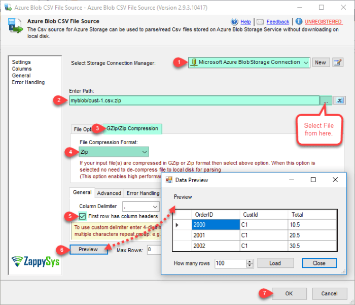 SSIS Azure Blob CSV File Source - Read from CSV File Options