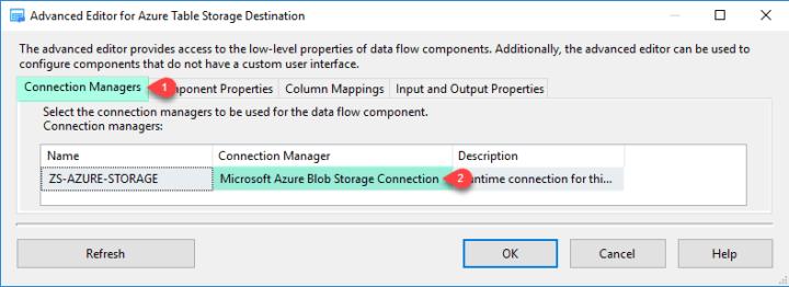 ZS Azure Table Storage Destination - Connection Manager