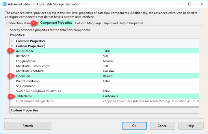 ZS Azure Table Storage Destination - Component Properties