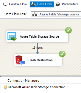 SSIS ZS Azure Table Storage Source - Execute the Package