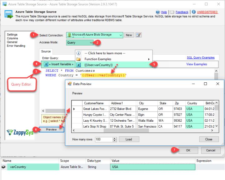 ZS Azure Table Storage Source - Configure Query Mode