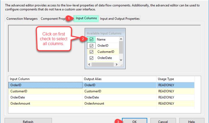 Select CSV File destination Columns