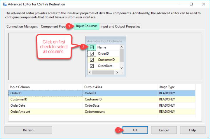 SSIS ZS CSV File Destination - Configure Input column Tab