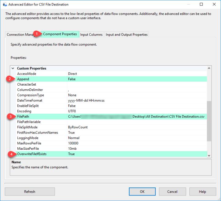 SSIS ZS CSV File Destination - Configure Component Properties Tab