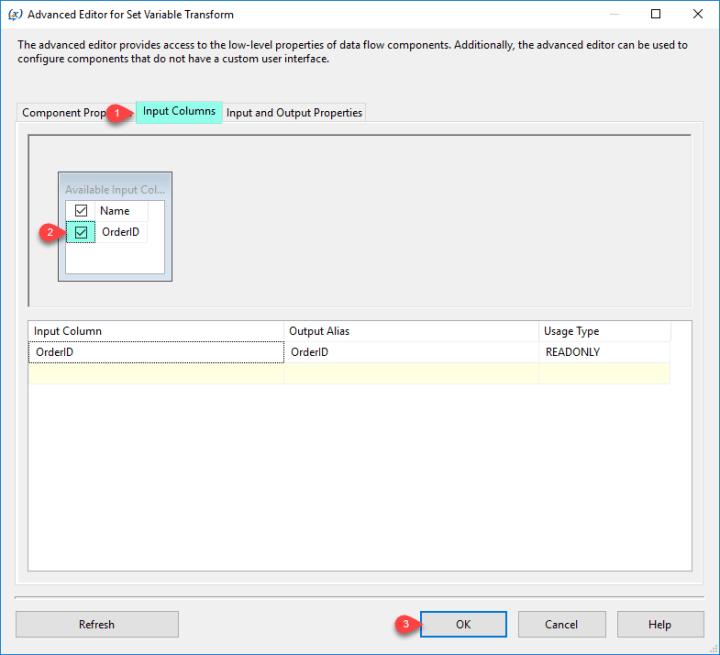 SSIS Set Variable Transform - Input Columns Tab