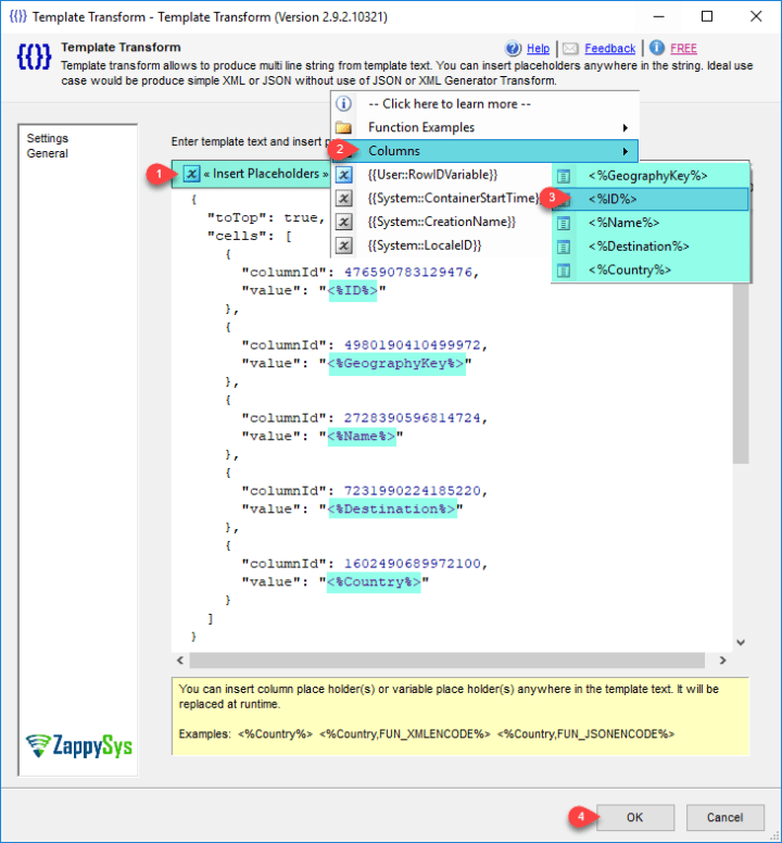 Configure SSIS ZS Template Transform to create desired API call