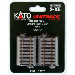 Cuatro tramos de via recta de 60 mm, Escala H0. Kato Unitrack, Ref: 2-105