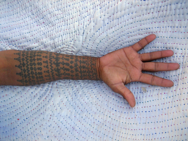 Tattooed forearm of a Rabari woman at Nadapa village, east of Bhuj.