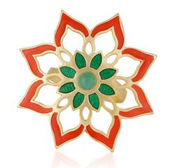 Eesha Zaveri Gold Plated Green Onyx Stone Flower Ring