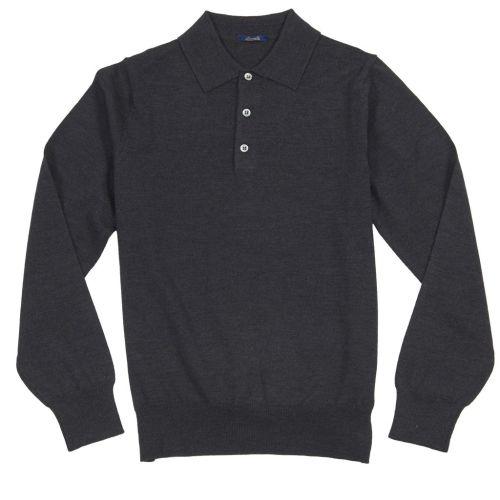 Sweter Polo Zaremba 100% Merino Szary