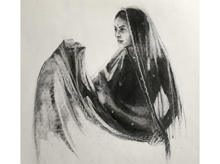 Girl drying her Sari
