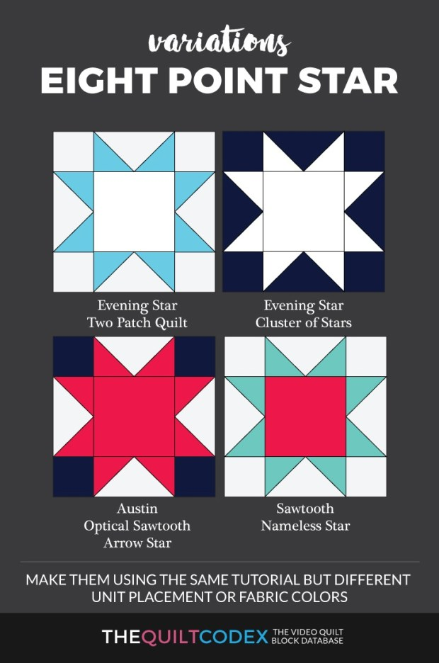 Eight point star quilt block variations