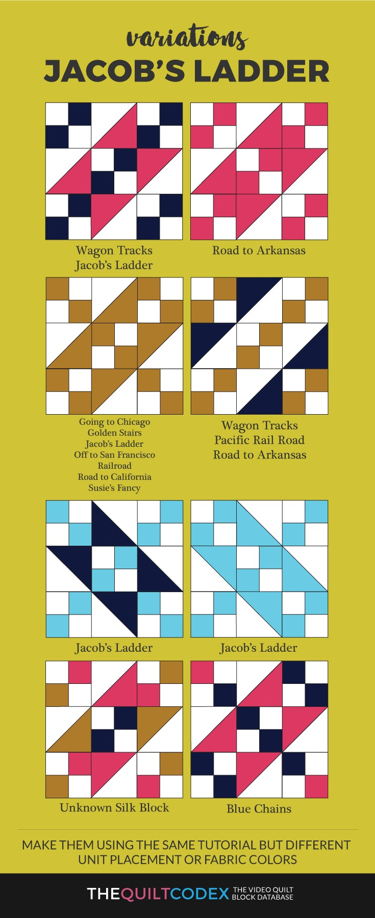 Jacob's ladder quilt block variations