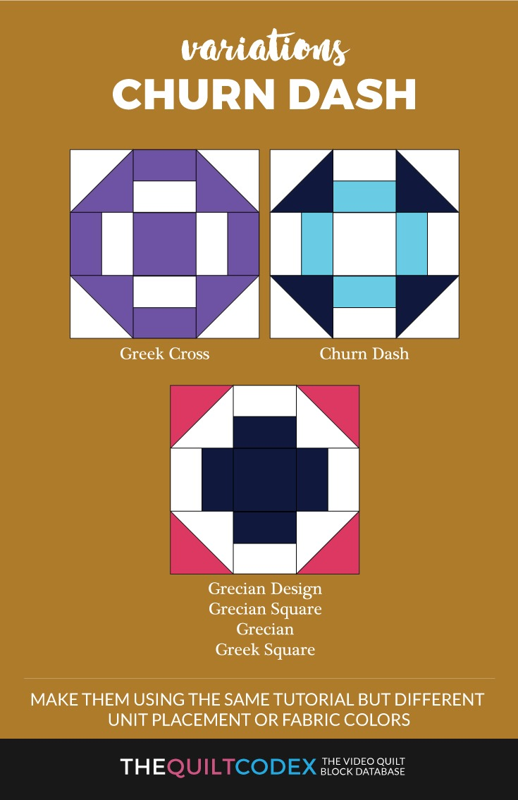 churn dash quilt block variations
