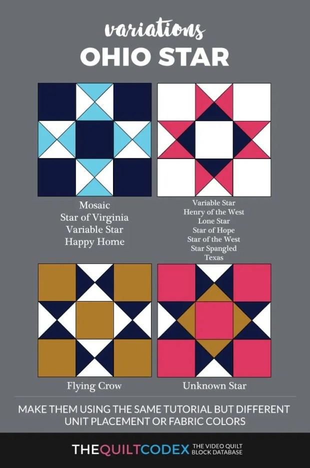 Ohio star quilt block variations