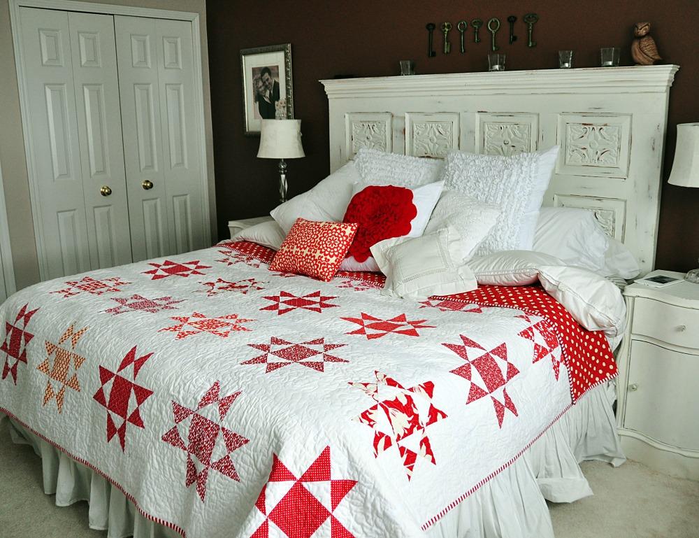 Ohio Star red quilt