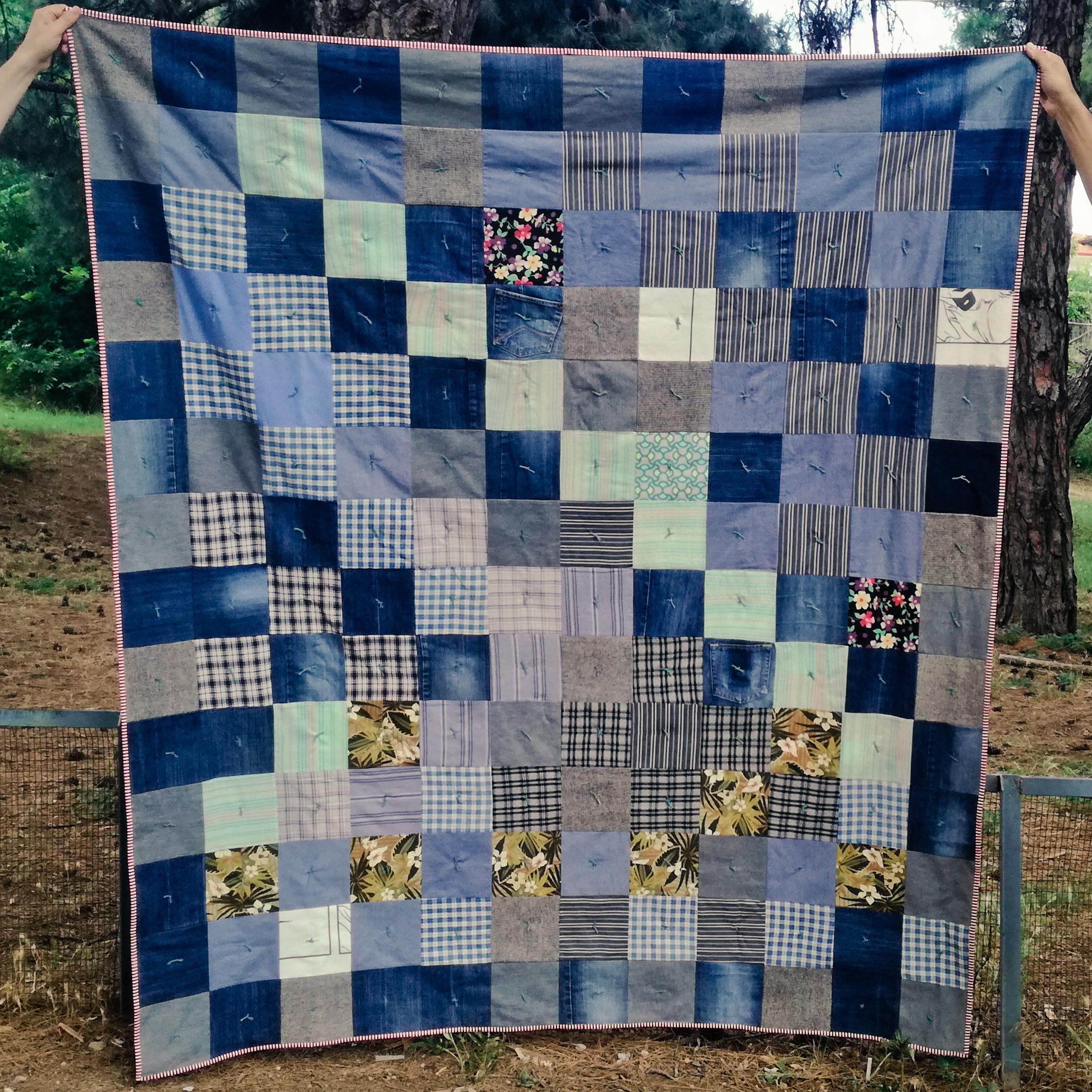Denim quilt using clothing