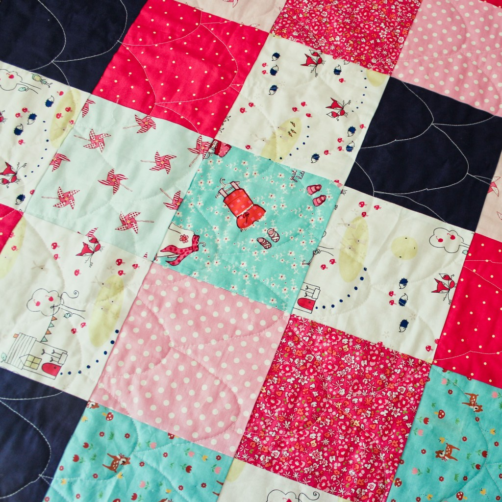 pink square quilt