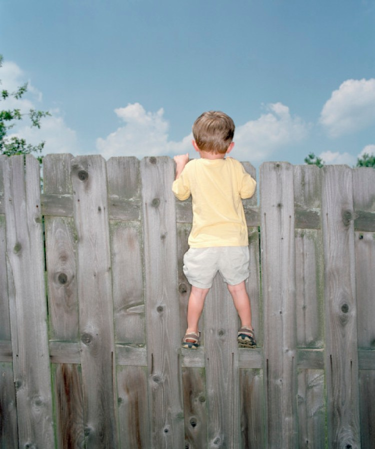 Boy (2-4) looking over fence, rear view