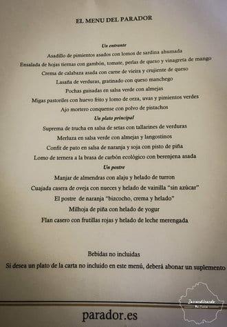 Menú gastronómico del Parador de Cuenca